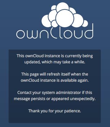 ownCloud maintenance message